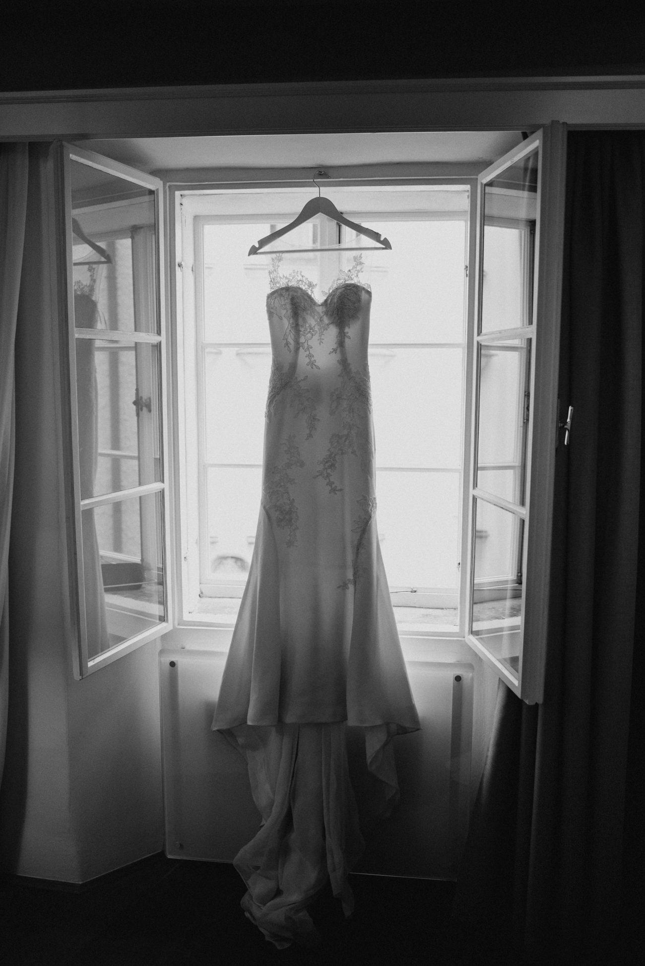 Wedding Dress Hanging in Hotel Gasthof Slazburg