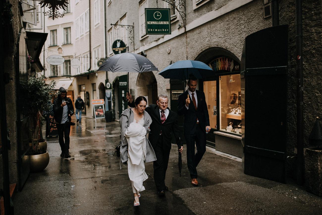 bride and groom on salzburg streets