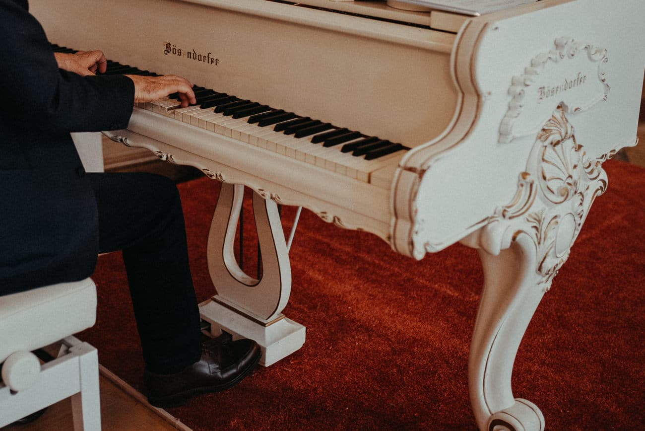 piano at mirabell palace for wedding ceremony