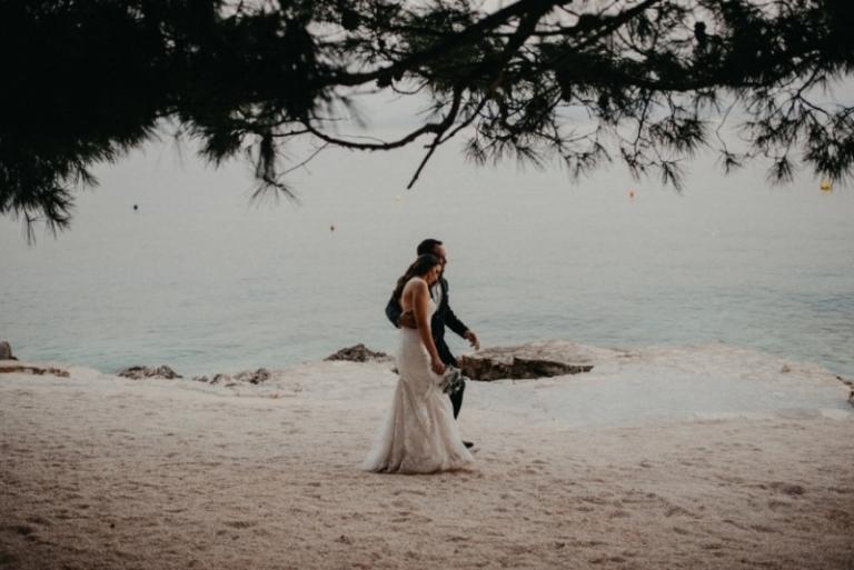 Couple at Laganini Beach on island Ciovo
