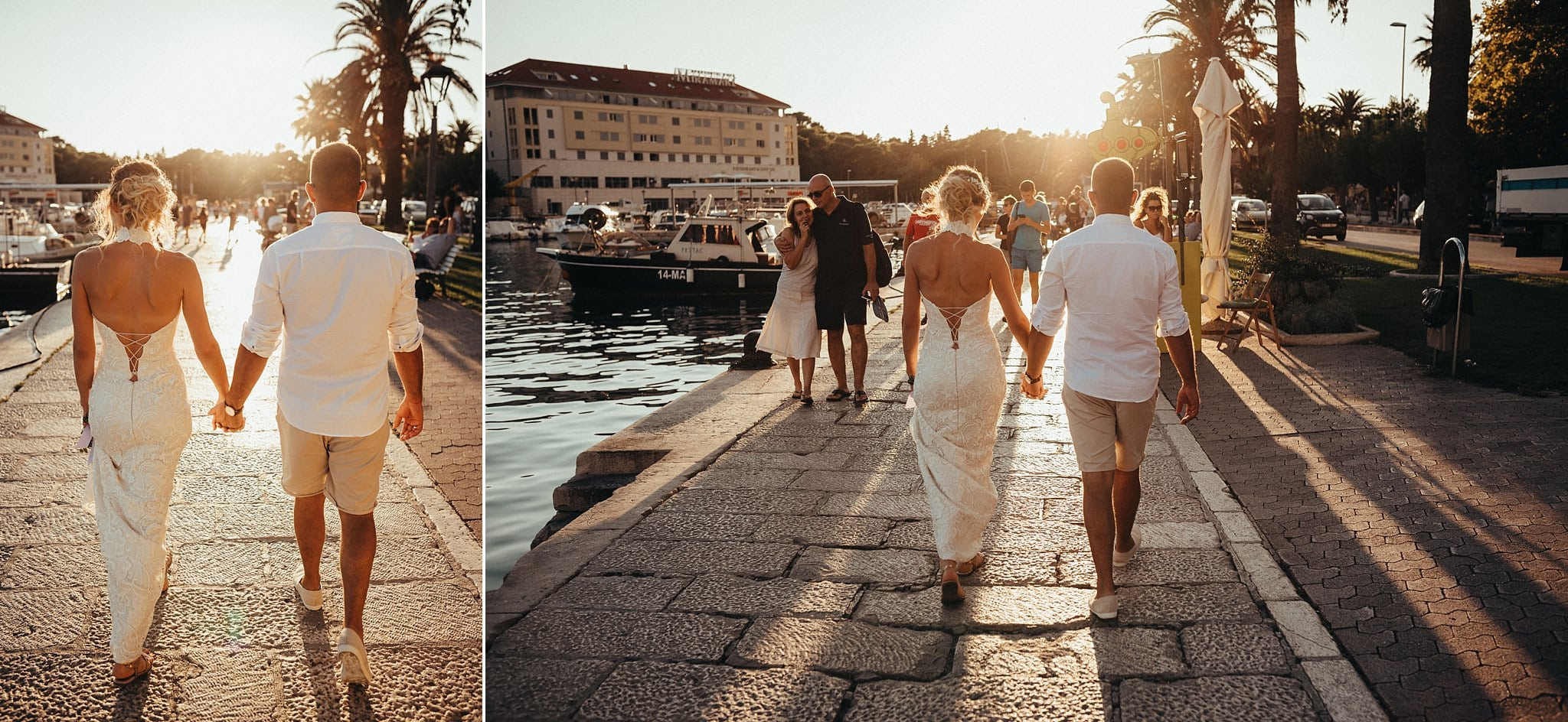 Newlywed romantic walk through streets and beautiful harbour of Makarska