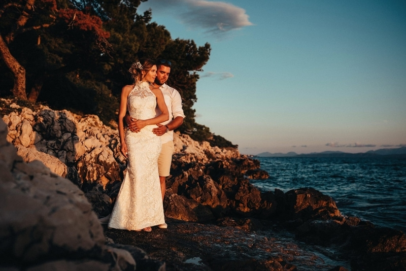 Sunset in Makarska with newlyweds