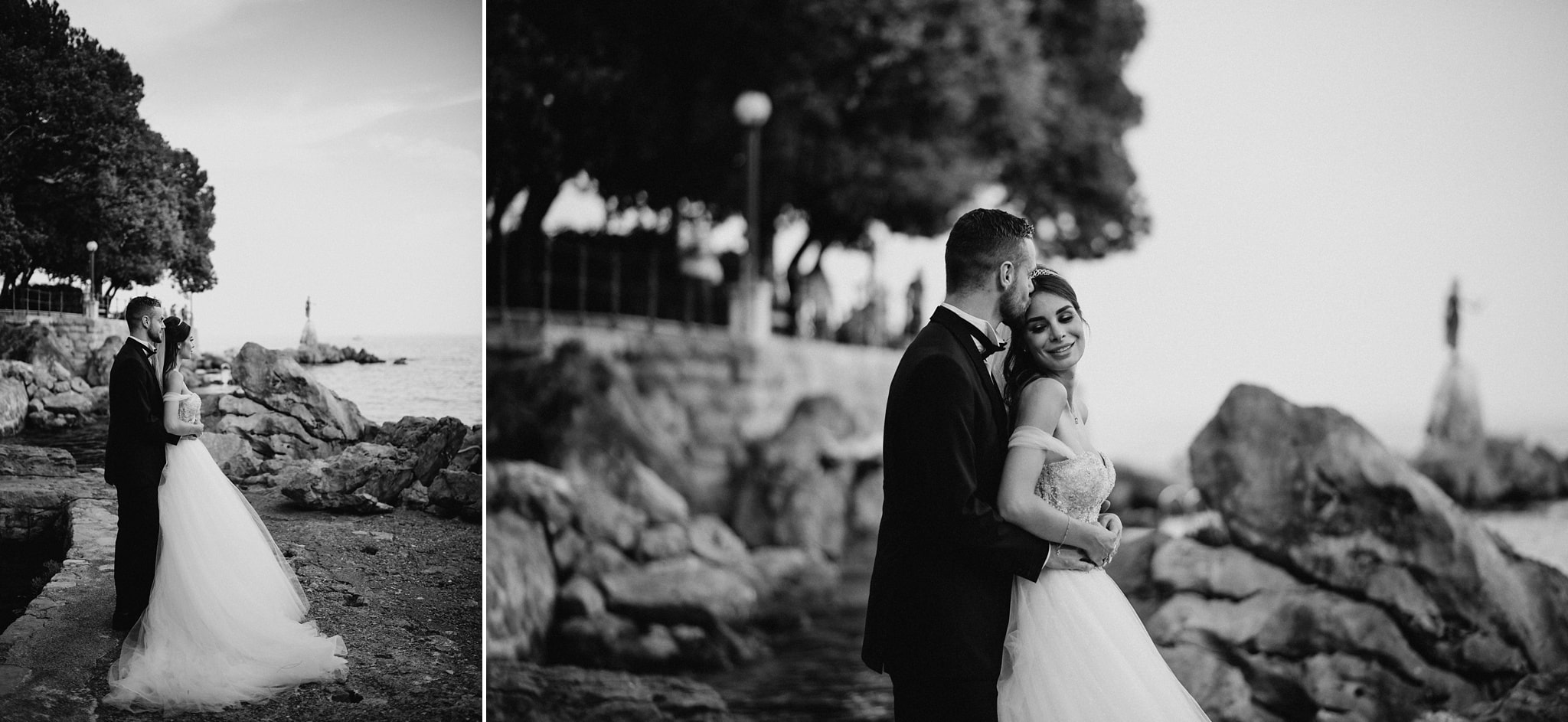 Wedding session with view on beautiful Opatija's Maiden with the seagull